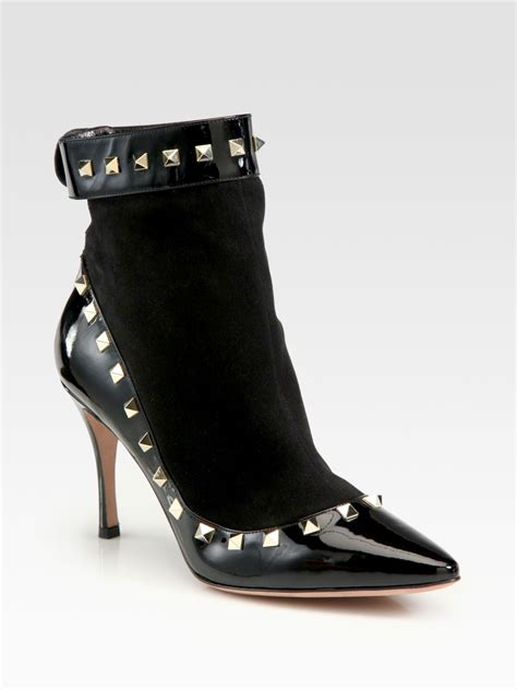 valentino rockstud suede and patent leather ankle boots in