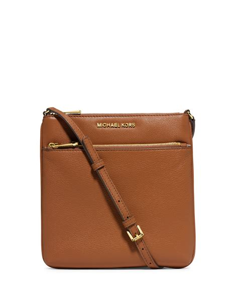 Michael Kors Crossbody michael michael kors small flat leather crossbody bag in brown luggage lyst