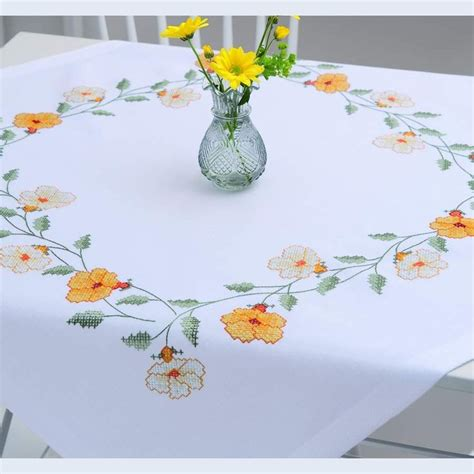 rico design embroidery kits morning glory tablecloth printed cross stitch kit
