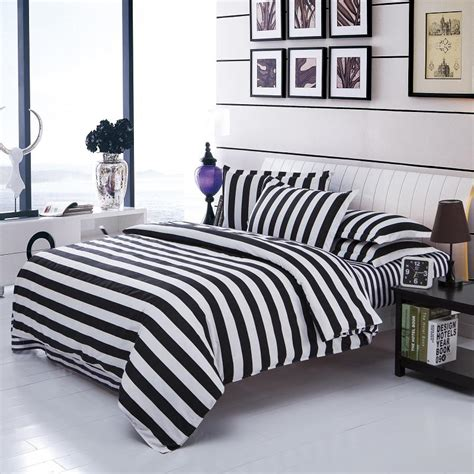 black and white striped comforter new arrival striped bedclothes white and black cotton