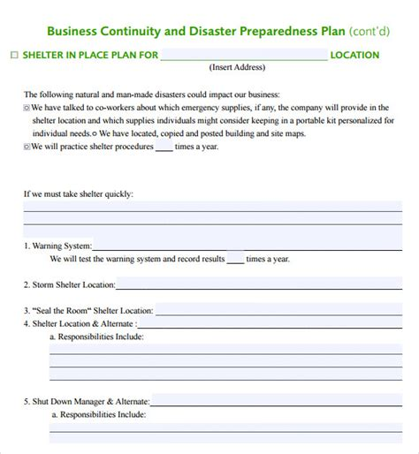 business continuity and disaster recovery plan template sle business continuity plan template 12 free