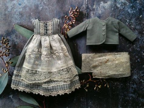 Dress Set Cloudy cloudy day dress and jacket set for blythe grey stripe