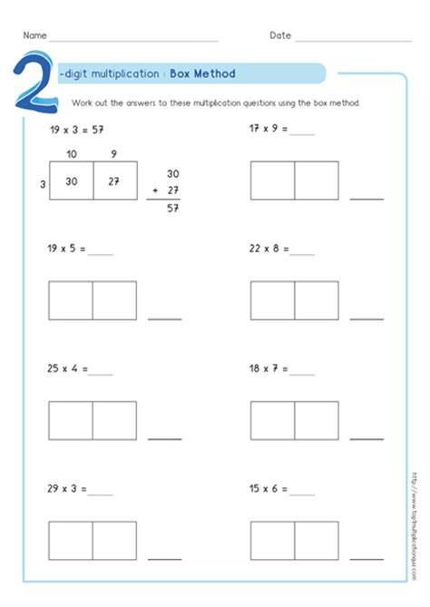 Partial Product Multiplication Worksheets Free by Box Method Multiplication 2 Digit Numbers Worksheets Pdf
