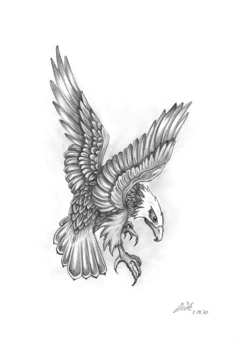 Tattoo Eagle Drawing | grey ink flying eagle tattoo design tattoos pinterest