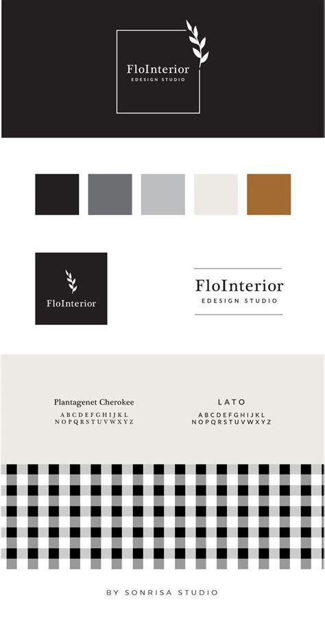 beautifully designed interior design logo  leaf accent