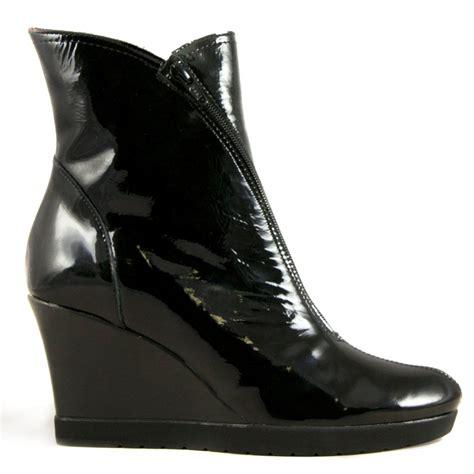 buy jose saenz sofia black patent wedge heel ankle boot