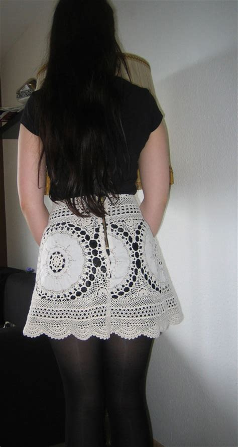 lace skirt   grannys tablecloth   recycle