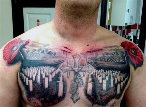 chest tattoo military big colored dramatic military cemetery tattoo on chest