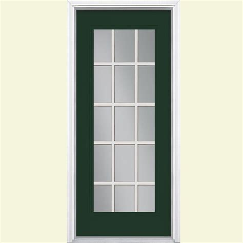 15 Light Exterior Door Masonite 32 In X 80 In 15 Lite Painted Steel Prehung Front Door With Brickmold 49980 The