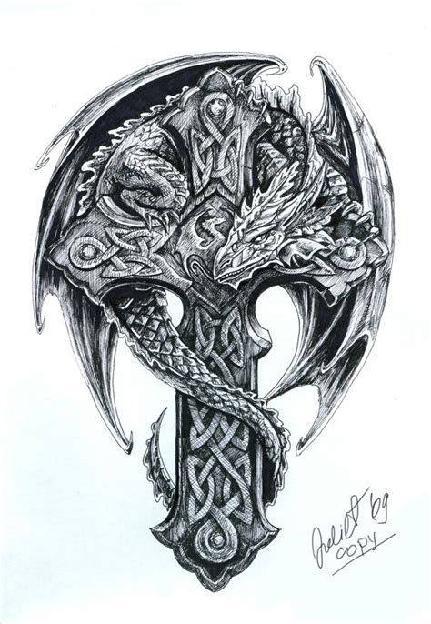 tattoo cross dragon celtic dragon tattoo pinterest celtic dragon