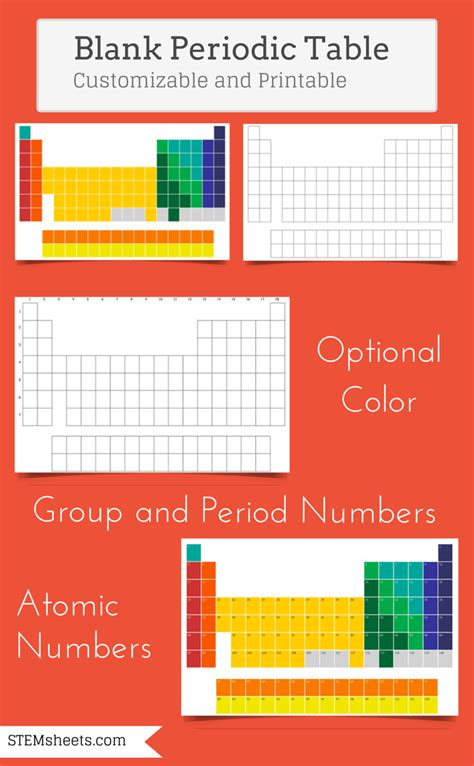 printable periodic table bingo blank periodic table of elements customizable and