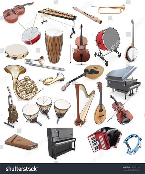 bands with a color in their name set musical instruments on white background stock