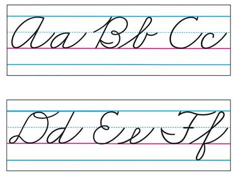 printable cursive alphabet banner printable zaner bloser cursive alphabet chart search