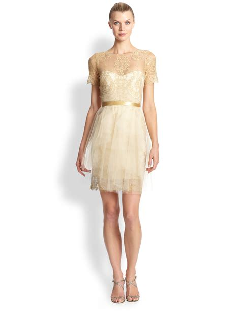 Ribbone Maxy Dress Jumbo Lacoste lyst notte by marchesa metallic lace tulle cocktail dress in metallic
