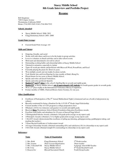 middle school student resume exle stacey middle school 8th grade and portfolio