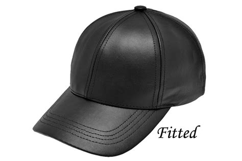 Leather Baseball Cap fitted black leather baseball cap