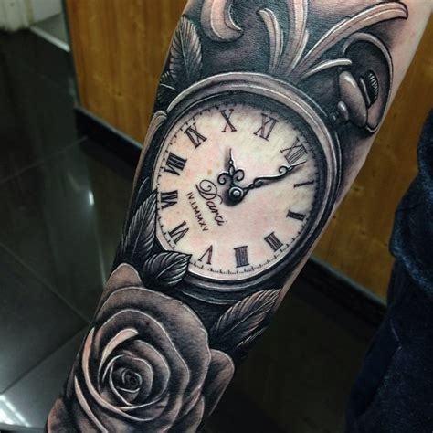 watch and rose tattoo pocket images designs