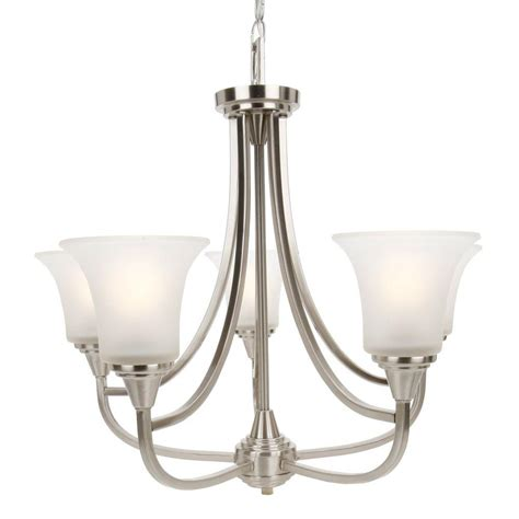 Home Depot Chandelier Shades Glomar 5 Light Brushed Nickel Chandelier With Frosted Glass Shade Hd 4146 The Home Depot