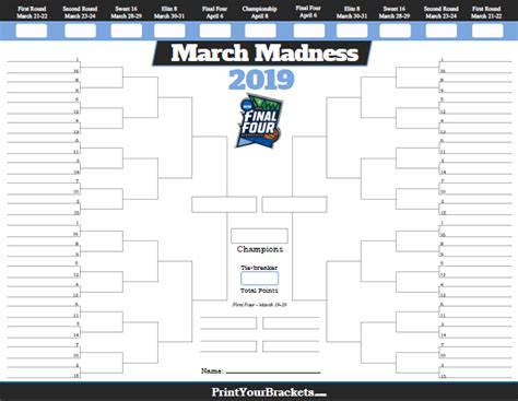 March Madness Bracket Printable 2018
