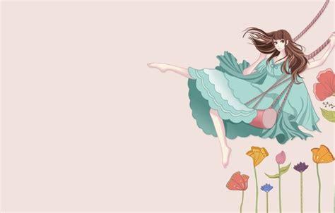 anime swing wallpaper art anime girl swings flowers wallpapers