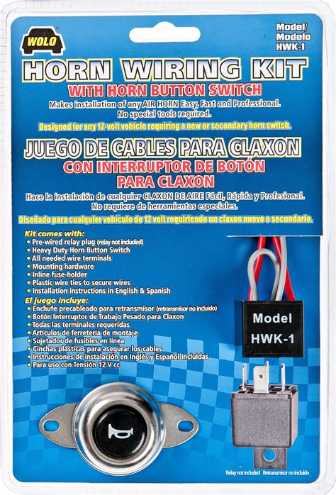 wolo hwk 1 air horn wiring kit with horn button switch