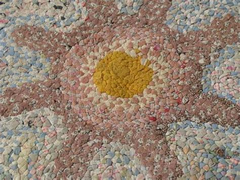 flower shaped floor ls flower shape antique vintage braided cotton fabric rag rug