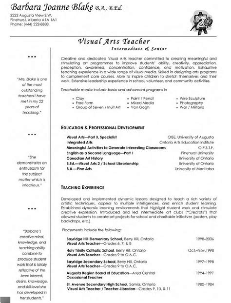 visual arts resume professional resume sle