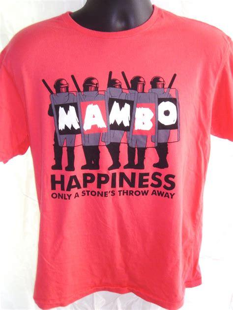 T Shirt Mambo sold mambo happiness is a stone s throw away medium t shirt
