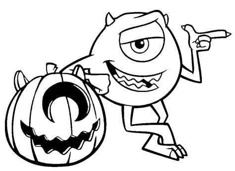 pumpkin and mike wazowski monsters inc coloring pages