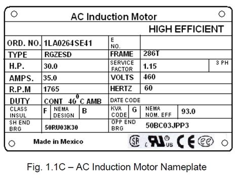power systems loss electric motor nameplate specifications