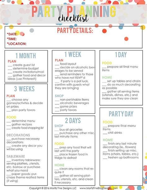 printable party planning list easy party planning checklist party planning checklist