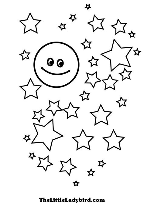 coloring page moon and stars free stars coloring pages thelittleladybird com