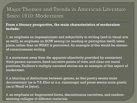 themes modernism literature ppt final review what you need to know powerpoint