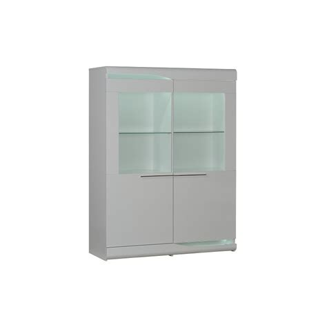 ovio white wide display cabinet with led lights