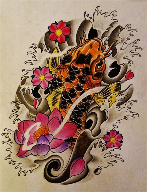 tattoos of koi fish with cherry blossoms koi fish lotus cherry blossom tattoo by 814ck5t4r on