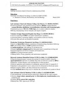 Biology Resume Exles by Entry Level Biologist Resume