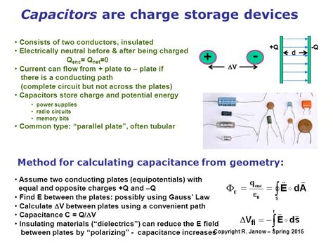 capacitor storage potential overview definition of capacitance calculating the capacitance ppt