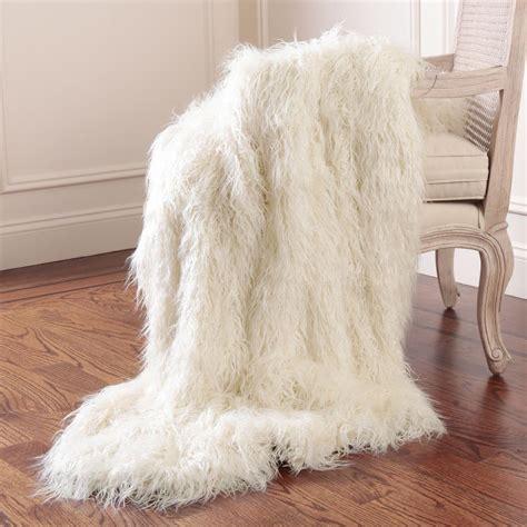 home fashion faux mongolian lamb fur    ivory