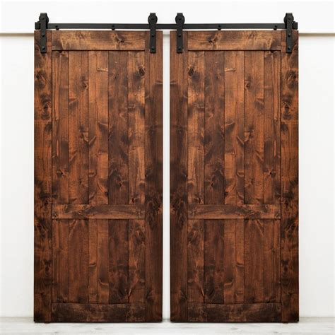 Lowes Barn Door Shop Dogberry Collections Country Vintage Stained Knotty Alder Barn Interior Door With Hardware