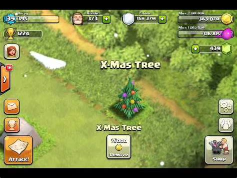 all the clash glitches clash of clans christmas update christmas tree clash of clans public service
