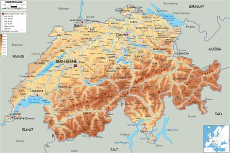 map of switzerland cities large detailed physical map of switzerland with all roads