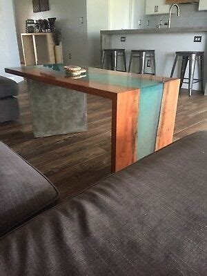 edge river resin coffee table concrete leg waterfall