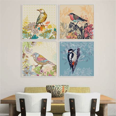 antique gas canvas poster print home wall decor vintage retro colorful birds animals cottage flower canvas large print poster rurural wall