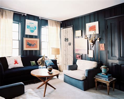 dark blue paint living room living room with dark furniture home design elements