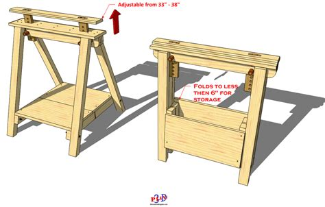 folding adjustable sawhorse  woodworking plans