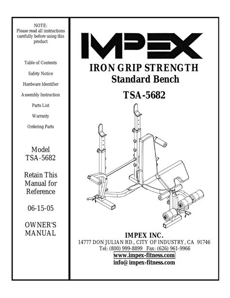 iron grip strength bench impex tsa 5682 user manual 14 pages