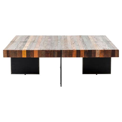 Square Rustic Coffee Table Dayle Rustic Lodge Chunky Square Wood Iron Coffee Table Kathy Kuo Home