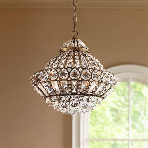 Wide Pendant Chandelier Wallingford 16 Wide Antique Brass And Crystal Chandelier