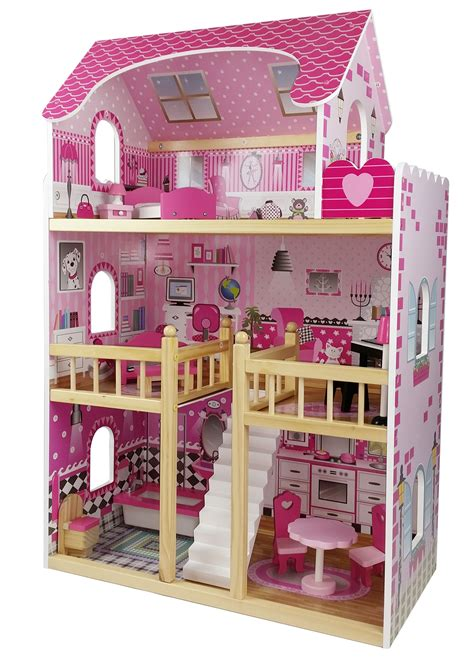 barbie doll house wooden butternut large wooden dolls house with accessories