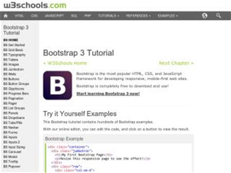 bootstrap tutorial in w3schools twitter bootstrap tutorials web development tutorials